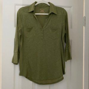 Light Olive Green 3/4 Quarters Sleeve Blouse